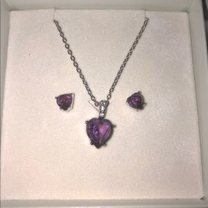 Amethyst Swarovski Necklace & Earrings